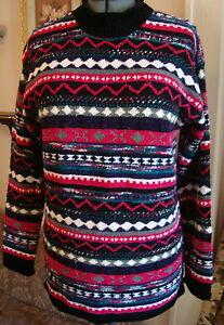 "Carolina Colours L 40""B Chenille Tunic Sweater LS Jeweltone Geo Stripe Design"