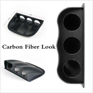 New Carbon Fiber Look Car Dash 3 Hole Triple Gauge Meter Mount Holder Pod 52mm
