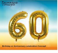 """Giant 60th Birthday Party 40"""" Foil Balloon Helium Air Decoration Age 60 GOLD"""