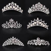 Stunning Crystal Flower Pearl Tiara Crown Hair Comb Bridal Wedding Hair Jewelry