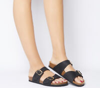 Womens Office Stride Double Buckle Footbeds Black Nubuck Sandals
