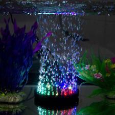 Steady Aquarium Fish Tank Air Curtain Bubble Stone Disk with 9 Multi-color LED