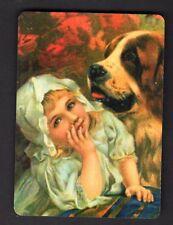 WIDE Swap/Playing Card - Cute Girl with St. Bernard