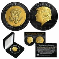 DONALD TRUMP '20 Keep America Great BLACK RUTHENIUM 24K GOLD Medallion Coin wBOX