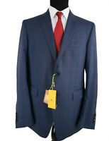 ETRO NWT Suit Size 44R In Blue with Multicolor Plaid