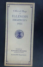 1935 Illinois  official highway road  map  oil  gas