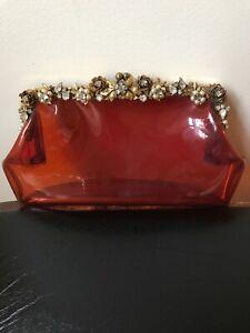 Retro Vintage 50s/60s Amber Plastic Small Handbag/Clutch,Floral,Rhinestone/Pearl