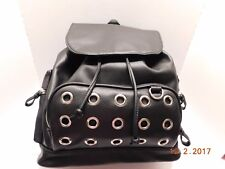 Candies Grommet Faux Leather Drawstring Backpack With Cat Pom Pom Black NEW