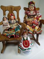 Set of 5 Hungarian Folk Dolls 1 TALL, 2 Definitely Vintage, 3 Maybe Vintage