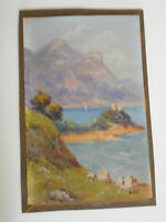 Peinture.Huile sur carton.Bord de mer.Eze,Alpes maritimes.Nice.Signé BERTHOT