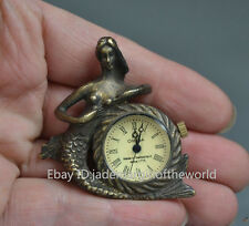 Old decorative carving copper mermaid collection mechanical pocket watch
