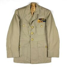 ORIGINAL US NAVY / USN OFFICER KHAKI TAN WOOL DRESS JACKET - SEWN RIBBONS IDED