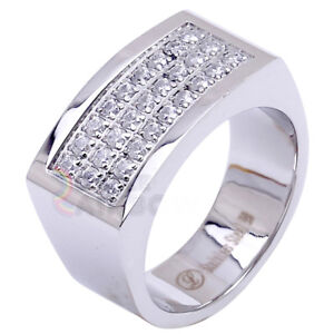R2 Men's Stainless Steel Silver 3 rows CZ SET Pinky Ring Size 8-13