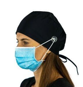 Black Surgical Cap Women with Buttons I Nurse Cap I Scrub Cap