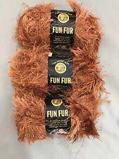 3 Skeins Lion Brand Fun Fur Copper Eyelash Yarn 60 Yds Each Polyester