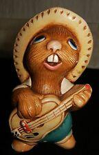 "Vintage PENDELFIN ""ROCKY"" Rabbit Figurine Playing Guitar c 1960's Turquoise Blue"