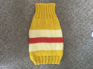 """Hand Knitted Dog Jumper Coat Small/Medium Size Dog. 13"""". Yellow Stripes"""