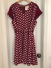 Retro 50s Modcloth Myrtlewood of California Maroon Polka Dot Belted Dress 2X