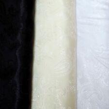 Polyester Paisley Jacquard Lining Dressmaking Costume Fabric White Ivory & Black