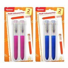 Jumbo 2 x Multi 10 Colors All In One Retractable Click Ball Point Pen Grip