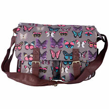 Miss K. Vintage Collection Stylish Canvas School Satchel - Butterfly Grey
