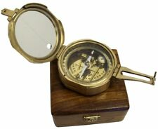"""NAUTICAL 3"""" BRUNTON COMPASS WITH WOODEN BOX - SOLID BRASS HEAVY DIRECTION COMPAS"""