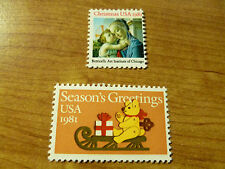 United States Scott 1939 - 1940, the 20 cent 1981 Xmas and Seasons Greeting