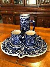 Antique Pinder & Bourne & Co Majolica Cobalt Blue Pitcher & 2 Cup Underplate Set