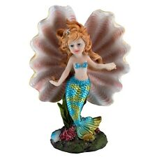 "Blue Mermaid Girl In Clam Shell Figurine 7"" High Resin New In Box!"