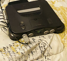 Black Nintendo 64. console wires SHOCK CONTROLLER STOCK CONTROLLER.