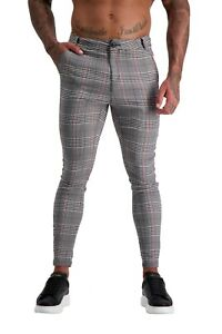 ADONIS.GEAR- AG16, TROUSERS, MUSCLE FIT, SKINNY, STRETCH, PANTS, GREY/RED CHECK