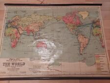 More details for vintage philip's school room map of the world beautiful