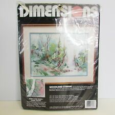 """Dimensions NO COUNT Cross Stitch Kit """"Woodland Stream"""" Bible Verse Still Waters"""