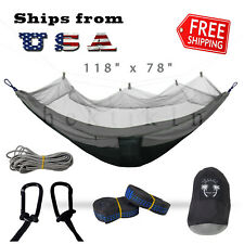 Double Outdoor Parachute Nylon Hammock with Mosquito Net Gray - X-Large