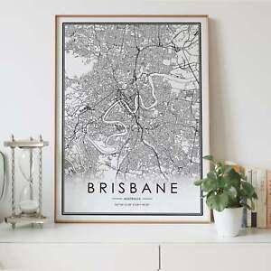 Brisbane City Lines Map Wall Art Poster Print. A3 A2 A1 Sizes