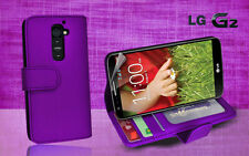 Purple Side Wallet Photo ID Leather Case Cover for LG G2 G 2 / D802 Screen GD
