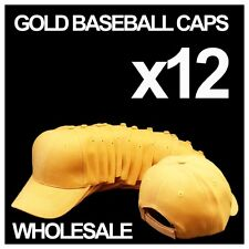 ***GOLD YELLOW*** WHOLESALE LOT OF 12 PLAIN BLANK SOLID BASEBALL CAPS HATS