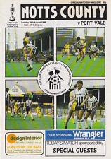 Football Programme>NOTTS COUNTY v PORT VALE Aug 1986 FLC