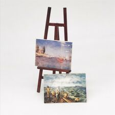 Dollhouse Miniature Artist Easel Stand & 2 wood Painting Pictures Accessory 1/12