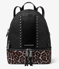 Michael Kors Backpack Bag Rhea Md Backpack Black Multi New 30f9uezb6b