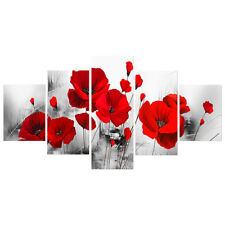 5PC Red Poppy Flower Canvas Print Painting Picture Art Wall Home Decor No Frame