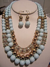 Three Layers Blue Mint Lucite Bead Gold Tone Bead Necklace Earring Set