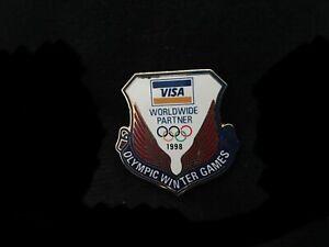 1998 NAGANO OLYMPIC PIN BADGE VISA PINS