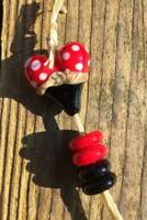 Red Heart & Spacers Artisan Created Lampwork Glass Beads Set of 5 Beads