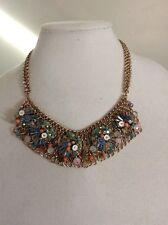 Betsey Johnson Weave & Sew Layered Statement Bib Necklace Rhinestones Crystals