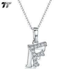 Pendant Necklace With Box Chain (Np331F) New Tt 18K White Gold Gp Letter F