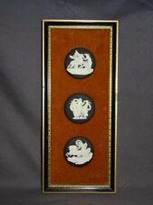 Vintage Wedgwood Black Jasperware Three Round Classical Cameos/Plaques Framed