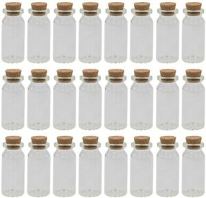 Set of 24 Miniature Round Glass Bottles with Cork Mini Liquor Bottle Clear 10ml