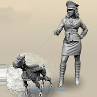 1/35 Scale Modern Female Soldier And Dog Resin Figure Model Kits Unpainted New