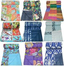 Vintage Handmade Kantha Quilt Blanket Indian Quilts Bedspread Twin Cotton Throw